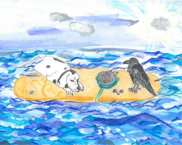 Tiere auf Surfbrett